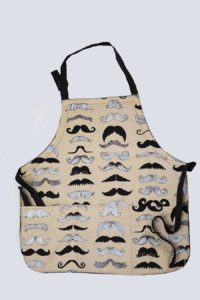 mustache print apron