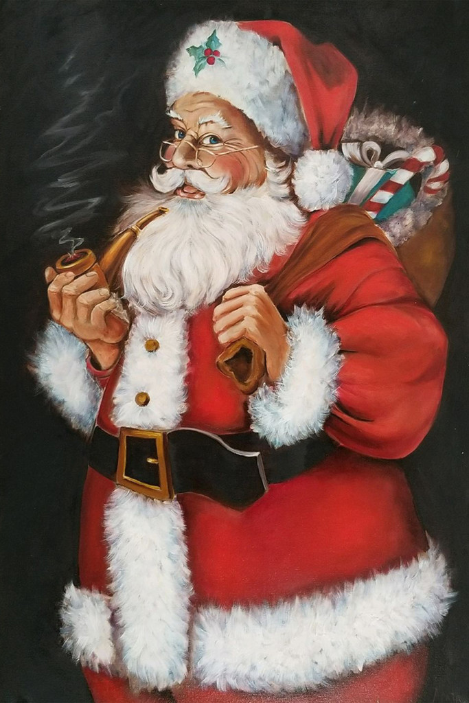 Santa print on canvas