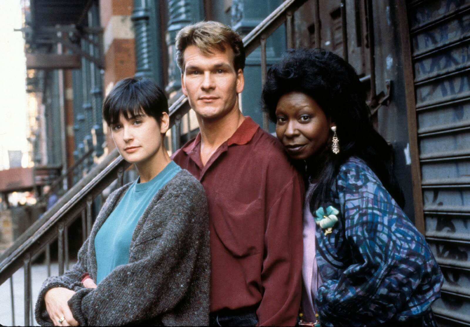 Demi Moore, Patrick Swayze, Whoopi Goldberg as the cast of Ghost