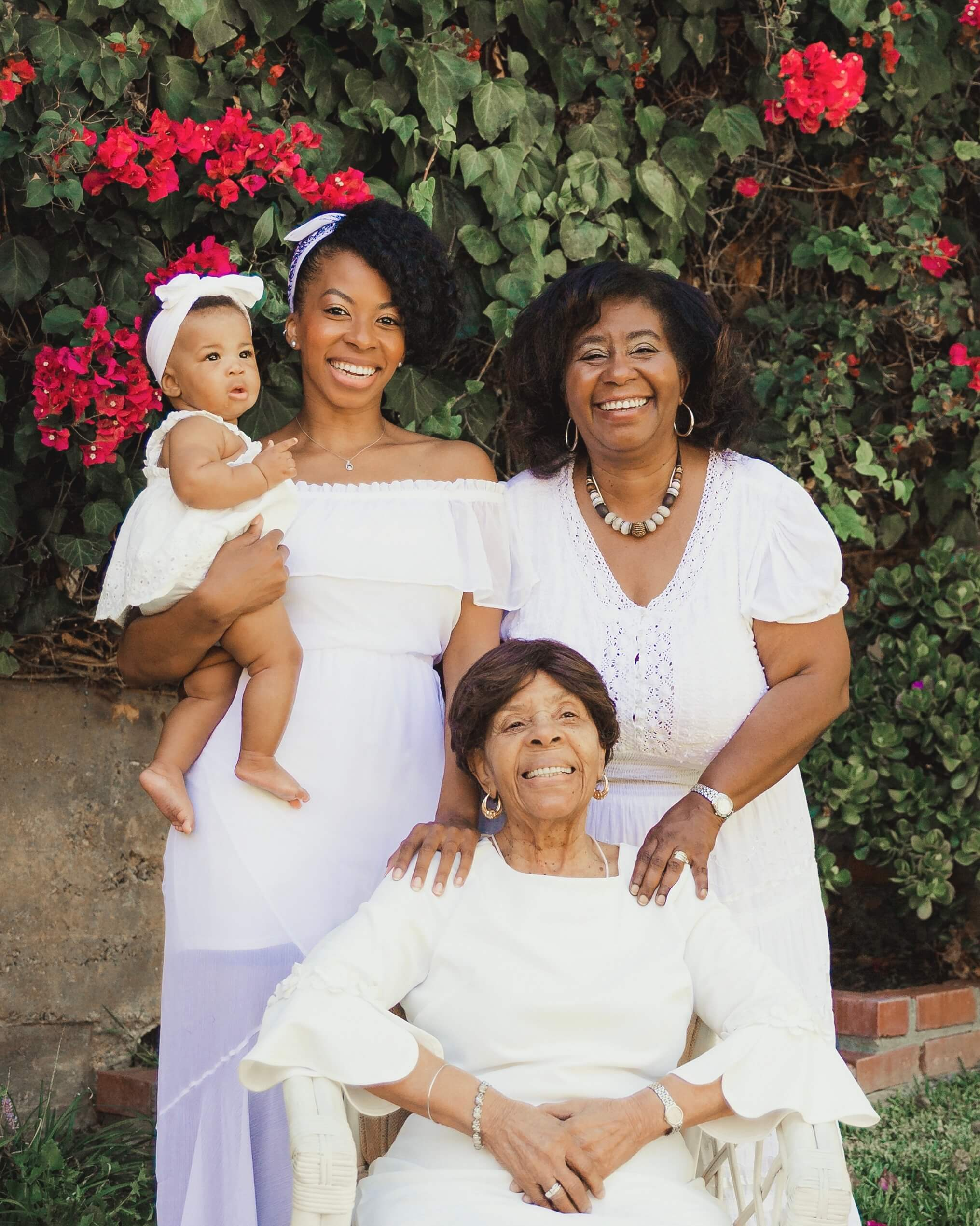 Mrs. Gray with mother, daughter, and granddaughter