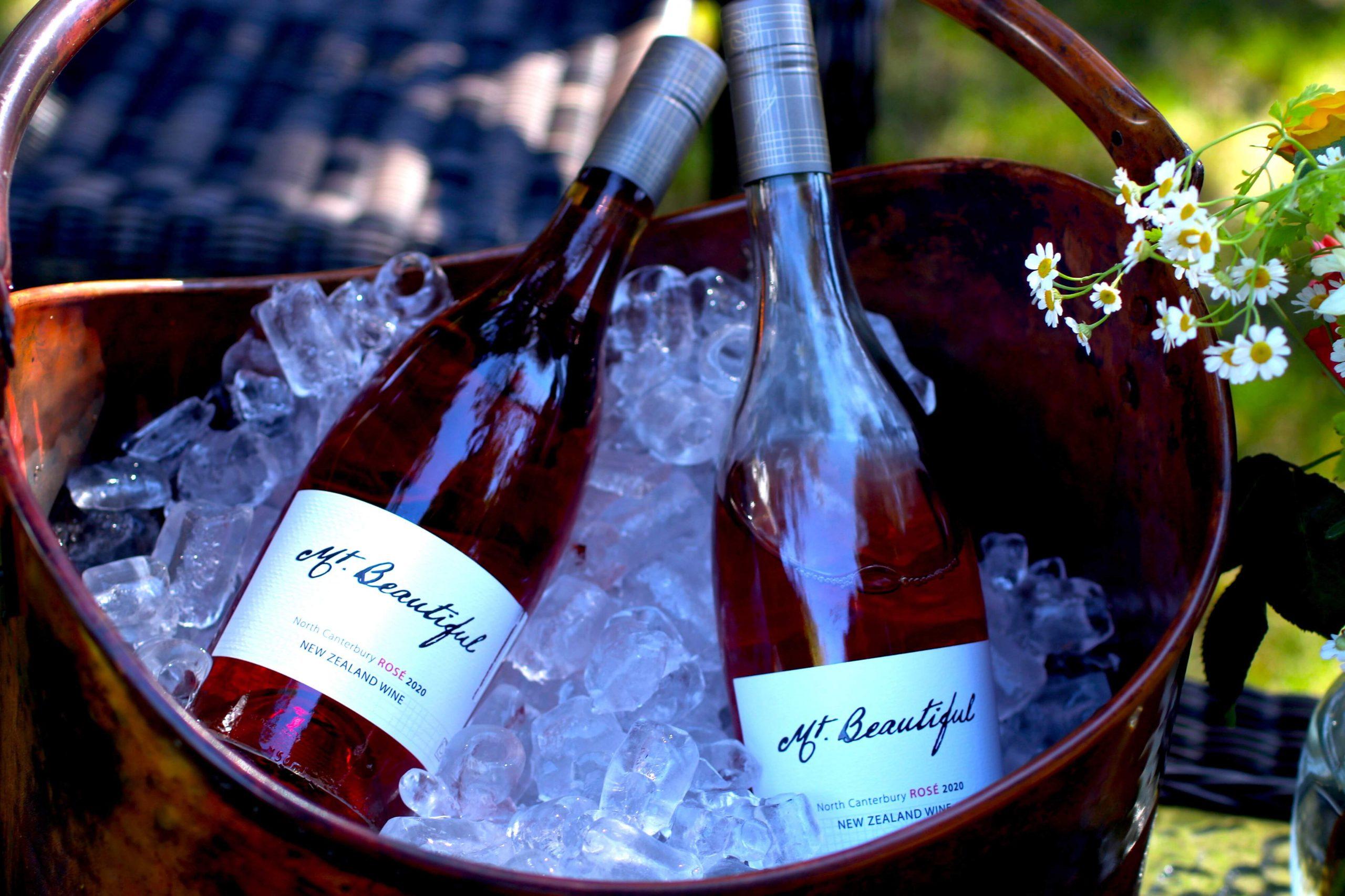Mt. Beautiful wine, two bottles on ice