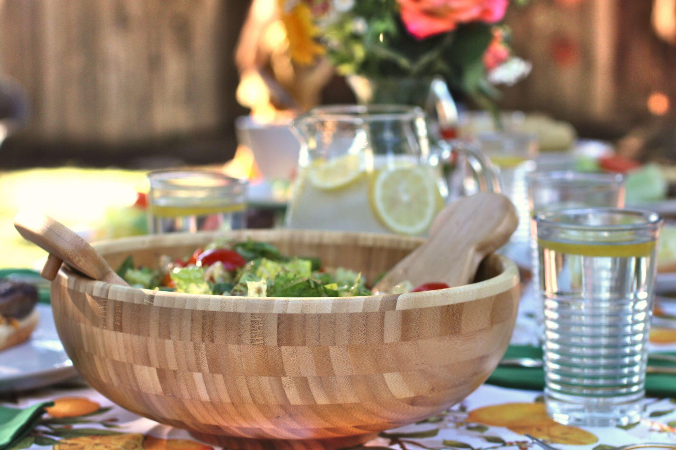 Salad bowl on picnic table